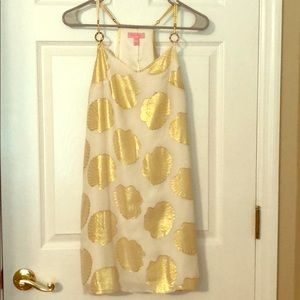 Lilly Pulitzer Gold Shell White Dusk Dress.